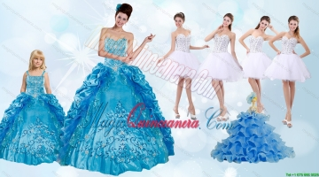 Beading and Ruffles Quinceanera Dress and Rhinestones White Short Dama Dresses and Spaghetti Straps Embroidery Litter Girl Dress