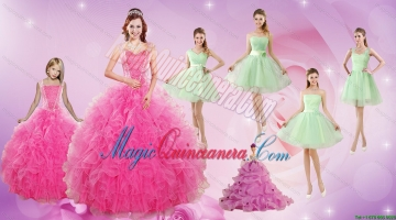 Beautiful Ruffles and Beading Quinceanera Dress and Apple Green Short Dama Dresses and Beading Litter Girl Dress