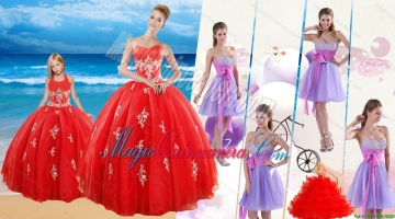 Elegant Red Sweetheart Quinceanera Dress and Sash and Beading Short Dama Dresses and Halter Top Red Litter Girl Dress