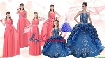 Elegant Ruffles and Embroidery Quinceanera Gown and Watermelon Long Prom Dresses and Embroidery Litter Girl Dress