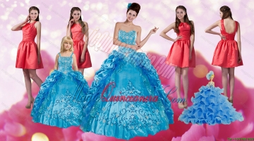 Embroidery and Pick Ups Quinceanera Dress and Ruching Short Dama Dresses and Spaghetti Straps Teal Litter Girl Dress