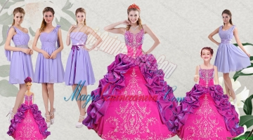 Multi Color Embroidery and Bubbles Quinceanera Dress and Ruching Short Dama Dresses and Spaghetti Straps Bubbles Litter Girl Dress