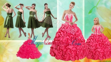 Pick Ups Ball Gown Quinceanera Dress and Strapless Ruching Short Prom Dresses and Appliques Litter Girl Dress