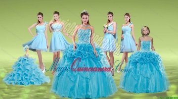Pick Ups and Embriodery Baby Blue Quinceanera Dress and Ruching Short Dama Dresses and Embroidery Baby Blue Litter Girl Dress
