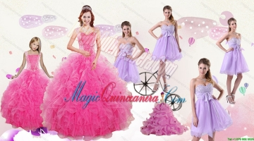 Popular Beading and Ruffles Quinceanera Dress and Bownot and Beading Short Dama Dresses and Pink Floor Length Litter Girl Dress