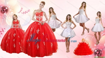 Red Ball Gown Appliques Quinceanera Dress and Short Beading White Dresses and Red Halter Top Litter Girl Dress