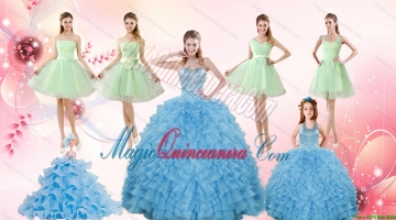 Ruffles Beading Ball Gown Quinceanera Dress and Sash Short Apple Green Dama Dresses and Halter Top Litter Girl Dress