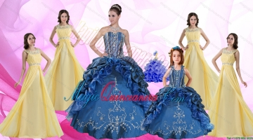 Ruffles and Beading Sweetheart Quinceanera Dress and Beading Long Dama Dresses and Halter Top Embroidery Litter Girl Dress