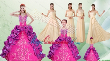 Spaghetti Straps Multi Color Quinceanera Dress and Long Ruching Dama Dresses and Ruffels and Embroidery Litter Girl Dress