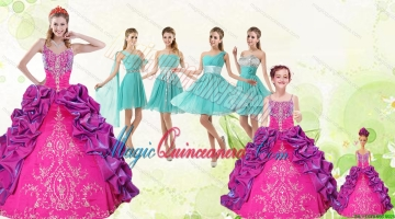 Spaghetti Straps Pick Ups 2015 Quinceanera Dress and Short Pretty Dama Dresses and Multi Color Litter Girl Dress