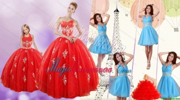 Sweetheart Ball Gown Red Quinceanera Gown and V Neck Beading Short Prom Dresses and Red Halter Top Litter Girl Dress