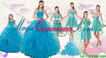 2015 Cheap Teal Sweetheart Quinceanera Dress and Ruching and Beading Short Prom Dresses and Halter Top Ruffles Litter Girl Dress