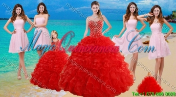 2015 Ruffled Red Quinceanera Dress and Baby Pink Strapless Prom Dresses and Halter Top Beaded Litter Girl Dress