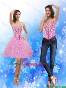 2015 New Arrival Sweetheart Rose Pink Dama Dresses with Beading and Ruffles