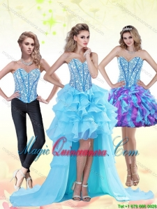 Aqua Blue New Arrival 2015 Dama Dresses with Beading and Ruffles