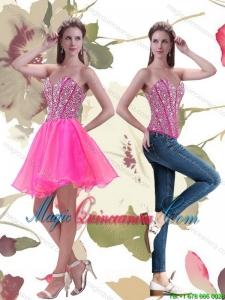 New Arrival 2015 A Line Mini Length Hot Pink Dama Dresses with Beading