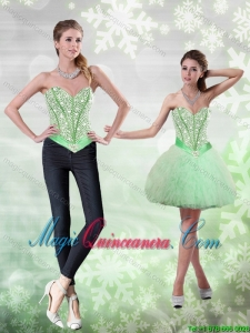 New Arrival Beading and Ruffles Apple Green Dama Dresses for 2015