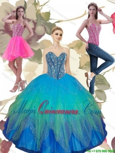 2015 Luxury Beading Sweetheart Tulle Quinceanera Dresses in Turquoise