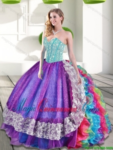 2015 Sweetheart Multi Color Quinceanera Dresses with Beading and Ruffles