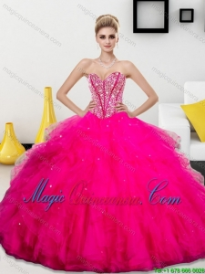 Dramatic Beading and Ruffles Sweetheart 2015 Quinceanera Dresses