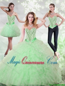 2015 Beading and Ruffles Sweetheart Sweet 15 Quinceanera Dresses in Apple Green