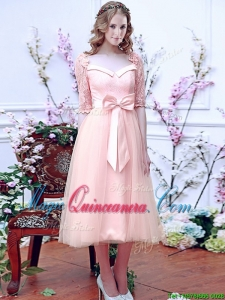 2016 Comfortable Square Half Sleeves Bowknot Dama Dress in Baby Pink