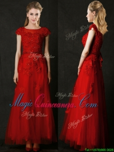 2016 Elegant Empire Applique Red Dama Dress with Cap Sleeves