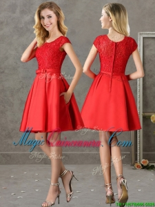 2016 Gorgeous Scoop Cap Sleeves Red Dama Dress with Lace and Bowknot