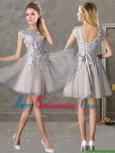 2016 Most Popular Bateau Cap Sleeves Grey Dama Dress with Lace