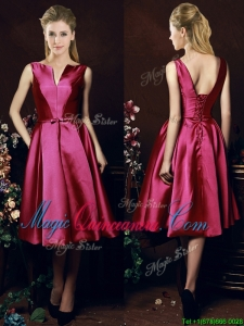 2016 Popular V Neck Knee Length Bowknot Dama Dress in Fuchsia