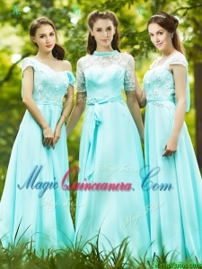 2016 Lovely Chiffon Empire Long Dama Dress in Apple Green