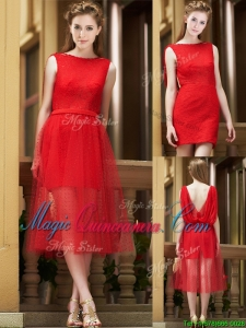 Exclusive Bateau Lace Tea Length Dama Dress in Red