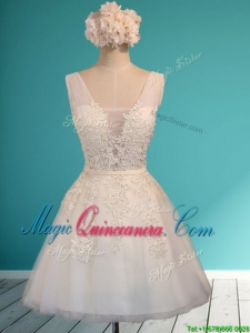 Gorgeous White Deep V Neckline Dama Dress with Appliques and Belt