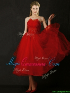 Elegant Tea Length Applique Red Dama Dress with Asymmetrical Neckline