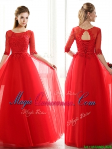 See Through Scoop Half Sleeves Red Dama Dress with Lace and Belt
