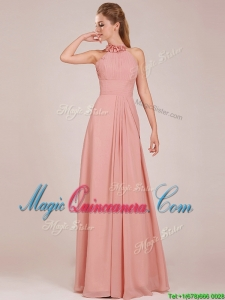 Low Price Halter Top Peach Long Dama Dress in Chiffon