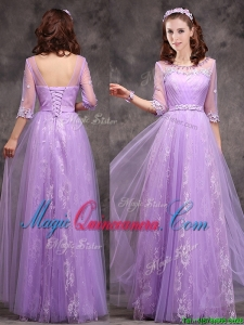 Popular Half Sleeves Lavender Dama Dress with Appliques and Beading