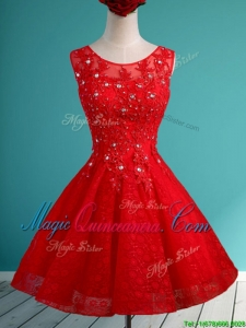 Popular Scoop Red Short Dama Dress with Beading and Appliques