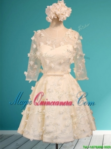 Discount Scoop Half Sleeves Champagne Dama Dress with Appliques and Belt