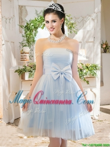 Elegant A Line Strapless Bowknot Short Dama Dress in Light Blue