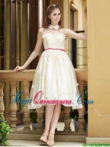 Gorgeous High Neck Champagne Dama Dress with Appliques and Sashes