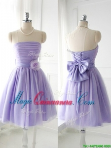 Simple Handcrafted Flower Tulle Lavender Dama Dress with Strapless