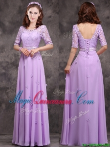 Exclusive Scoop Half Sleeves Lavender Dama Dress with Appliques and Lace