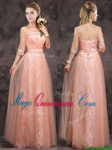 Exquisite See Through Applique and Laced Long Dama Dress in Peach