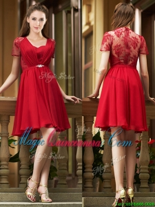Elegant See Through Back Red Short Dama Dress with Short Sleeves