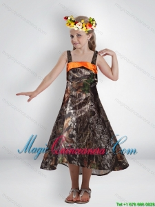 Elegant High Low Straps Camo Little Girl Pageant Dress with Sashes
