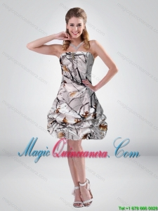 2015 New Arrival Mini length Camo Dama Dresses with Ruching