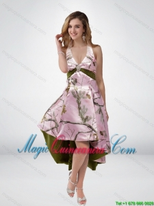 2015 New Arrival Multi Color High Low Camo Dama Dresses with Sashes