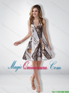 Discount A Line Halter Camo Dama Dresses with Ruching