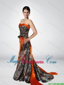 Discount Column Strapless Camo Dama Dresses with Hand Made Flower